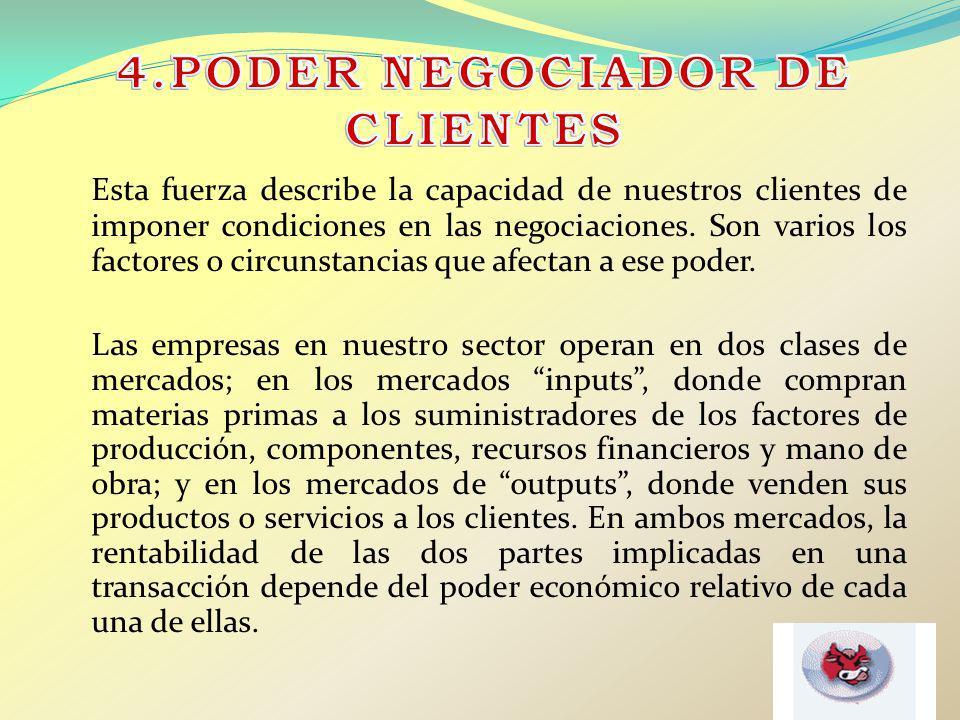 Esta fuerza describe la capacidad de nuestros clientes de imponer condiciones en las negociaciones. Son varios los factores o circunstancias que afect