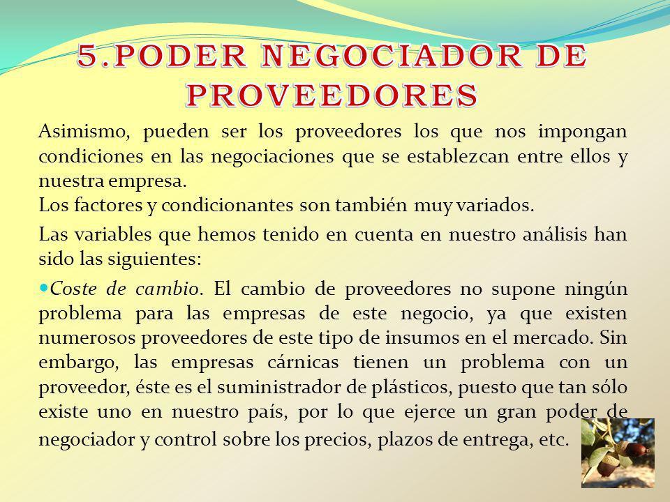 Asimismo, pueden ser los proveedores los que nos impongan condiciones en las negociaciones que se establezcan entre ellos y nuestra empresa. Los facto