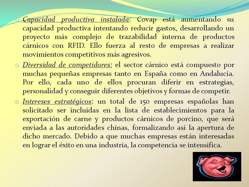 o Capacidad productiva instalada: Covap está aumentando su capacidad productiva intentando reducir gastos, desarrollando un proyecto más complejo de t