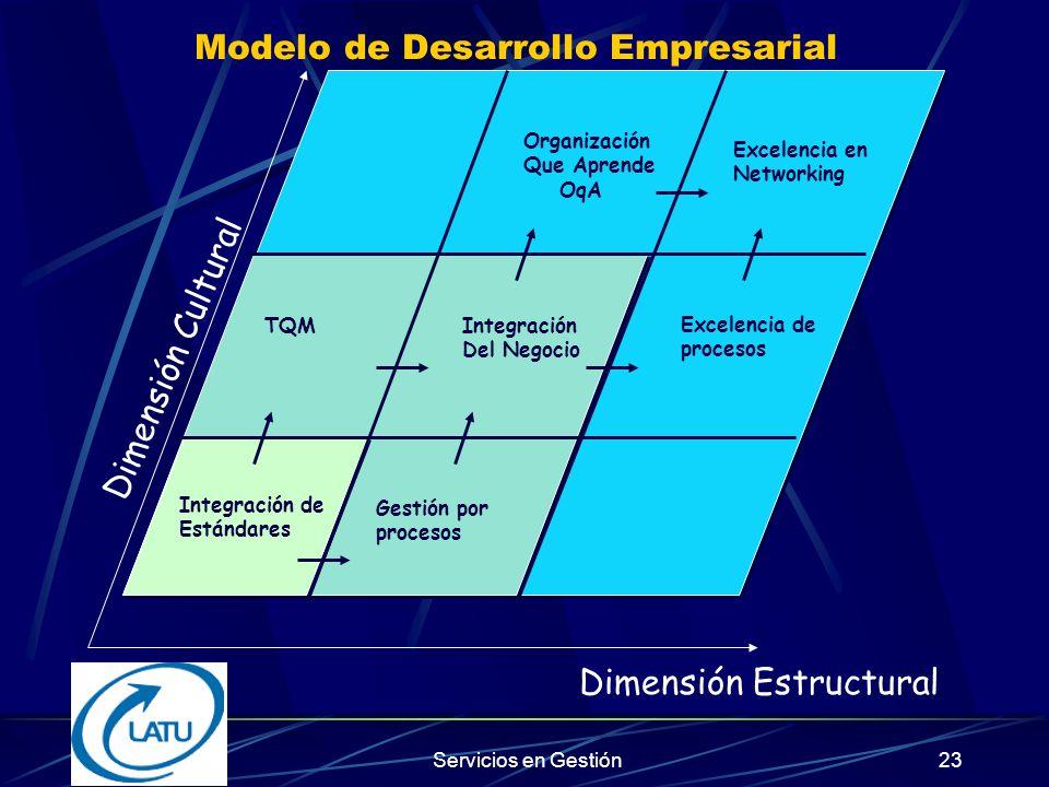 Servicios en Gestión22 Niveles de Integración Nivel 3: Enfoque Holístico de Gestión Nivel 3: Enfoque Holístico de Gestión Dimensión Estructural Dimensión Cultural Nivel 2: Modelos de Negocios Nivel 2: Modelos de Negocios Nivel 1: Modelos Normas ISO 9001 Nivel 1: Modelos Normas ISO 9001
