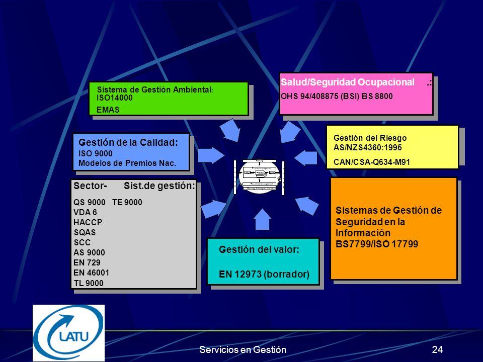 Servicios en Gestión23 Modelo de Desarrollo Empresarial Dimensión Estructural Dimensión Cultural Integración de Estándares Integración de Estándares Gestión por procesos Excelencia de procesos Integración Del Negocio TQM Organización Que Aprende OqA Excelencia en Networking