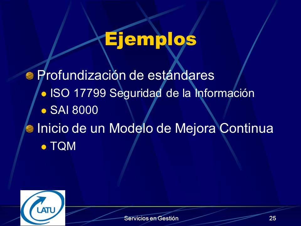 Servicios en Gestión24 K U N D E Prozessmanagement Führung Ressourcenmanagement Prozess InputOutput Messung & Analyse, Verbesserung K U N D E A P C D Sector-Sist.de gestión: QS 9000 TE 9000 VDA 6 HACCP SQAS SCC AS 9000 EN 729 EN 46001 TL 9000 Gestión de la Calidad: ISO 9000 Modelos de Premios Nac.