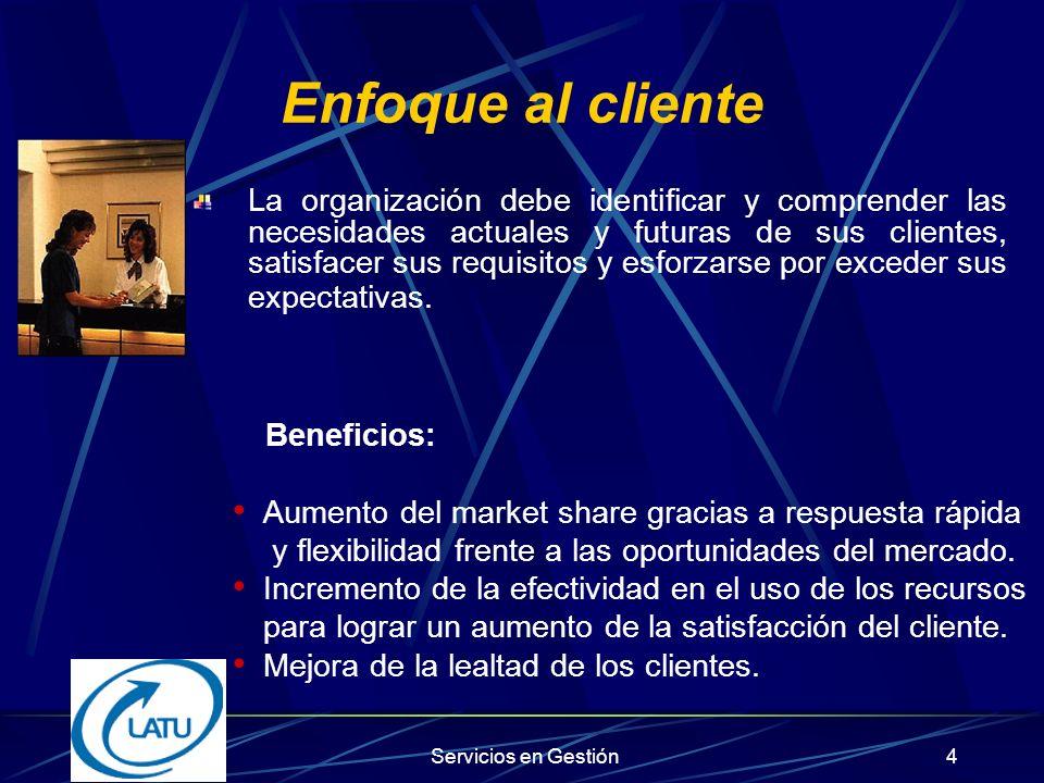 Servicios en Gestión3 Principios de la Gestión de la Calidad 1.