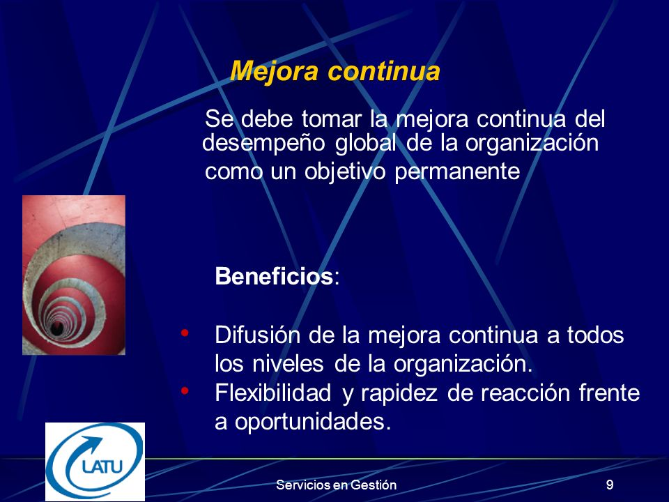 Servicios en Gestión39 Beneficios de la responsabilidad social empresarial Mejor productividad y calidad Mejor habilidad para atraer y retener empleados Reducción en supervisión regulatoria Acceso a capital
