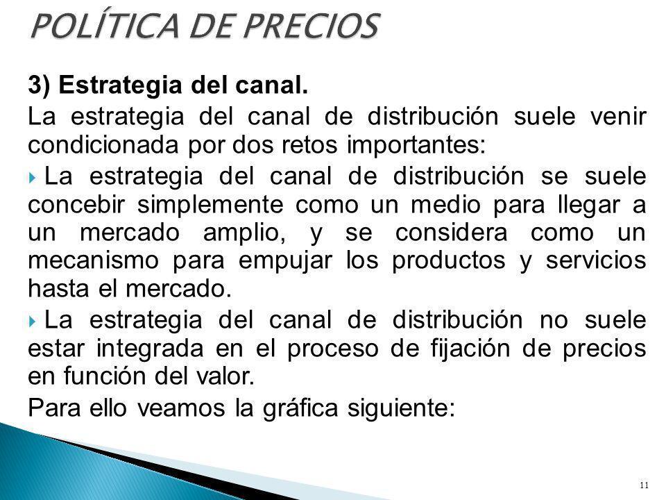 3) Estrategia del canal. La estrategia del canal de distribución suele venir condicionada por dos retos importantes: La estrategia del canal de distri