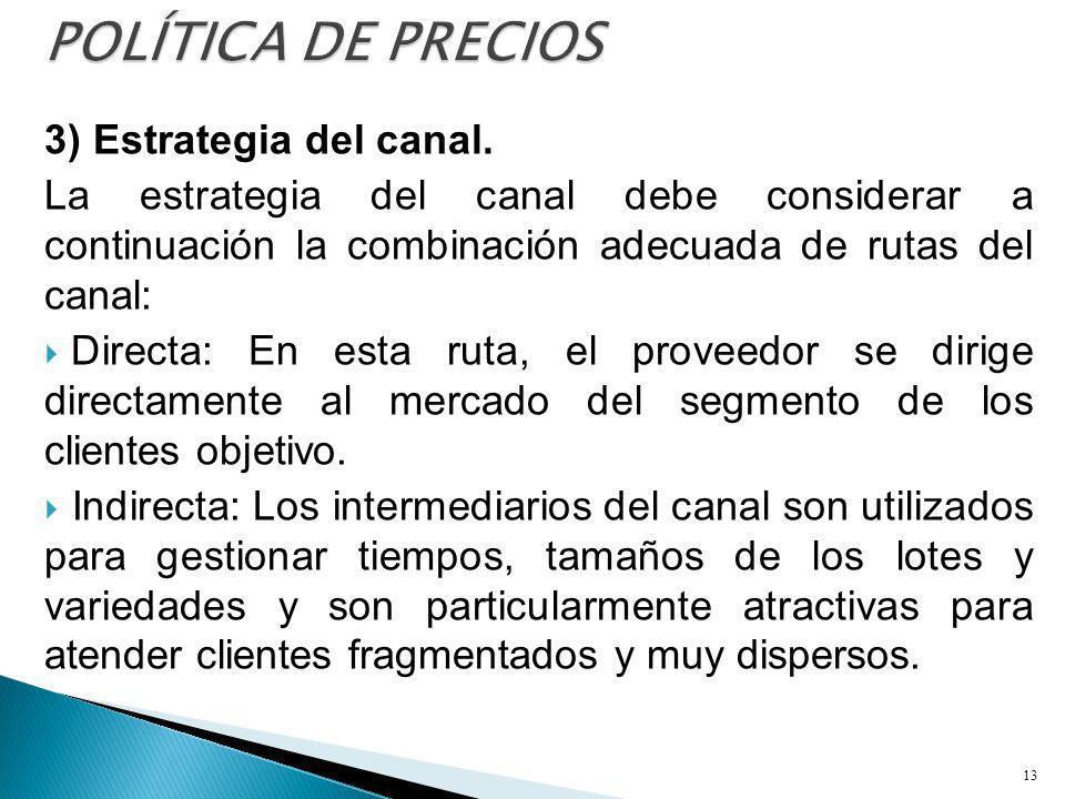 3) Estrategia del canal. La estrategia del canal debe considerar a continuación la combinación adecuada de rutas del canal: Directa: En esta ruta, el