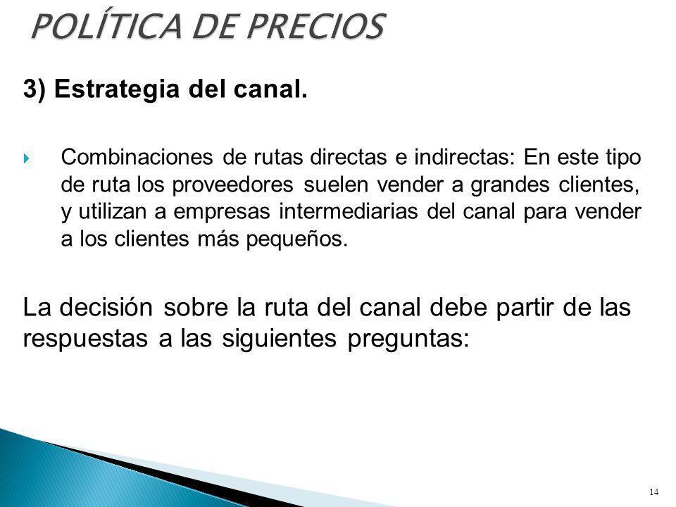 3) Estrategia del canal. Combinaciones de rutas directas e indirectas: En este tipo de ruta los proveedores suelen vender a grandes clientes, y utiliz
