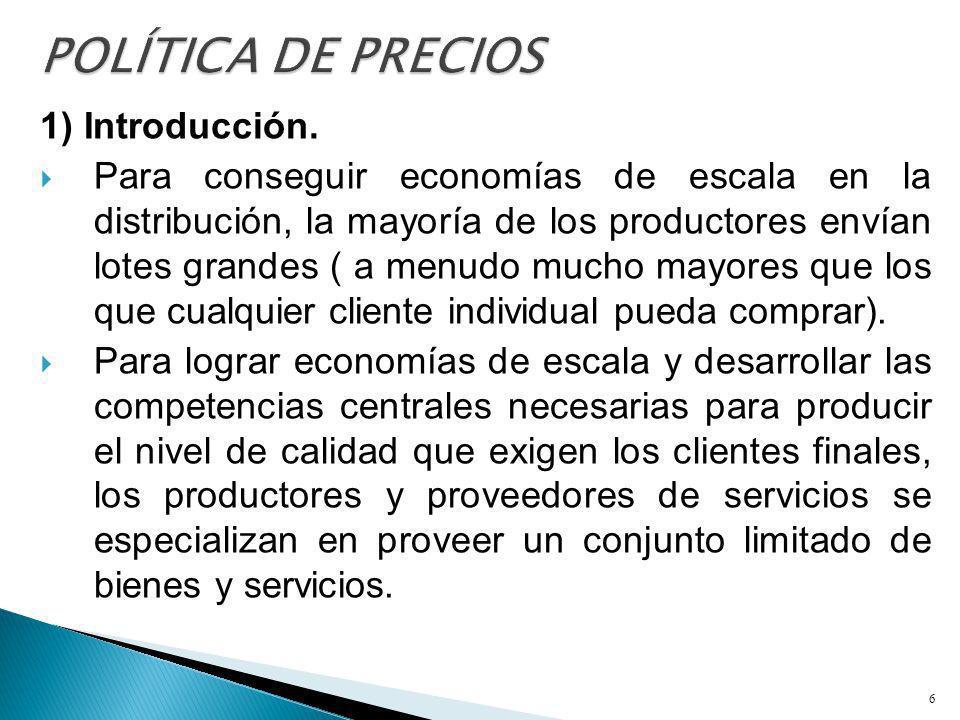 1) Introducción. Para conseguir economías de escala en la distribución, la mayoría de los productores envían lotes grandes ( a menudo mucho mayores qu