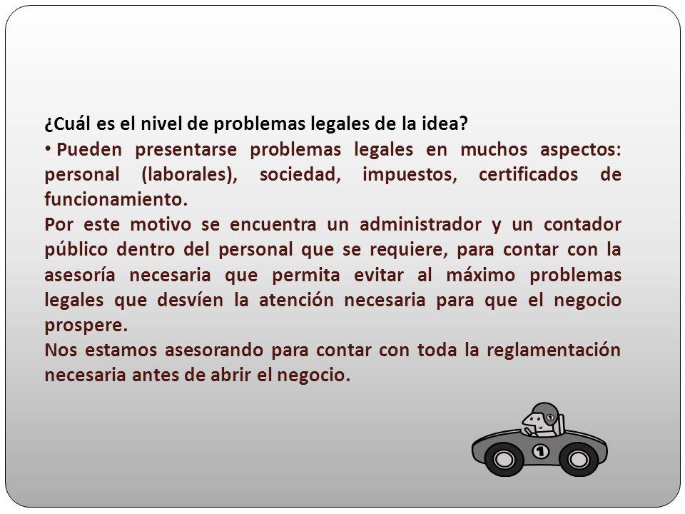 ¿Cuál es el nivel de problemas legales de la idea? Pueden presentarse problemas legales en muchos aspectos: personal (laborales), sociedad, impuestos,