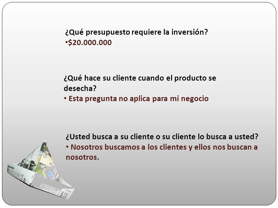 ¿Qué presupuesto requiere la inversión? $20.000.000 ¿Usted busca a su cliente o su cliente lo busca a usted? Nosotros buscamos a los clientes y ellos