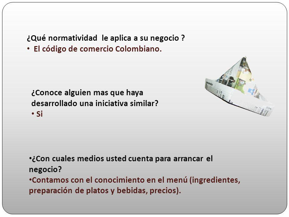 ¿Qué normatividad le aplica a su negocio ? El código de comercio Colombiano. ¿Conoce alguien mas que haya desarrollado una iniciativa similar? Si ¿Con