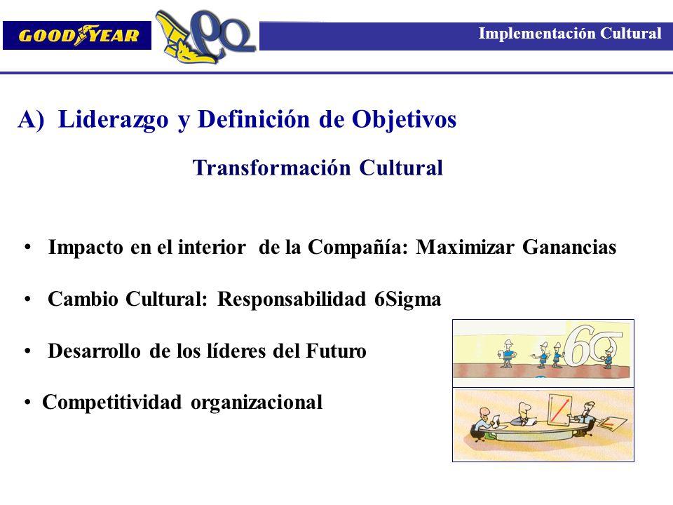 A) Liderazgo y Definición de Objetivos Impacto en el interior de la Compañía: Maximizar Ganancias Cambio Cultural: Responsabilidad 6Sigma Desarrollo d