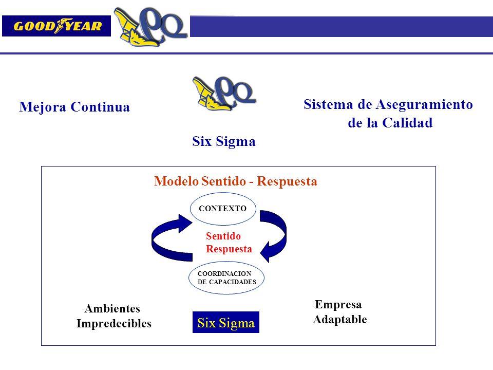 Mejora Continua Sistema de Aseguramiento de la Calidad Six Sigma CONTEXTO COORDINACION DE CAPACIDADES Sentido Respuesta Six Sigma Modelo Sentido - Res