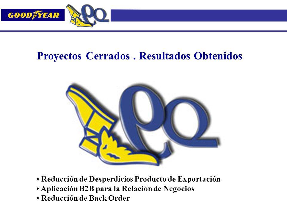 Proyectos Cerrados. Resultados Obtenidos Reducción de Desperdicios Producto de Exportación Aplicación B2B para la Relación de Negocios Reducción de Ba