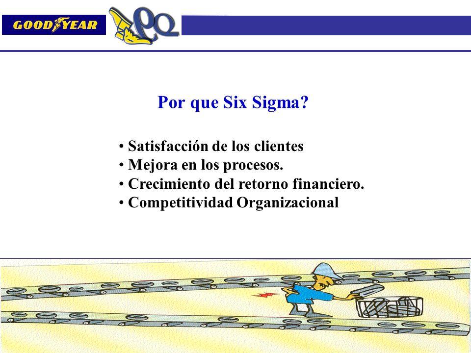 Por que Six Sigma? Satisfacción de los clientes Mejora en los procesos. Crecimiento del retorno financiero. Competitividad Organizacional