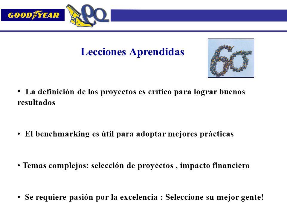 Lecciones Aprendidas La definición de los proyectos es crítico para lograr buenos resultados El benchmarking es útil para adoptar mejores prácticas Te
