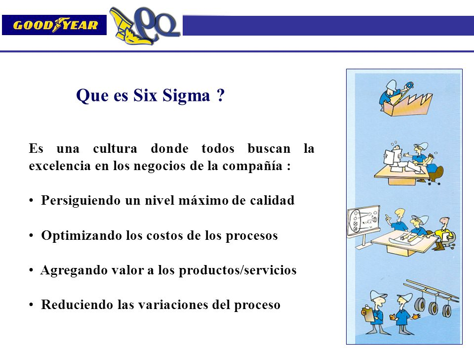 Que es Six Sigma ? Es una cultura donde todos buscan la excelencia en los negocios de la compañía : Persiguiendo un nivel máximo de calidad Optimizand
