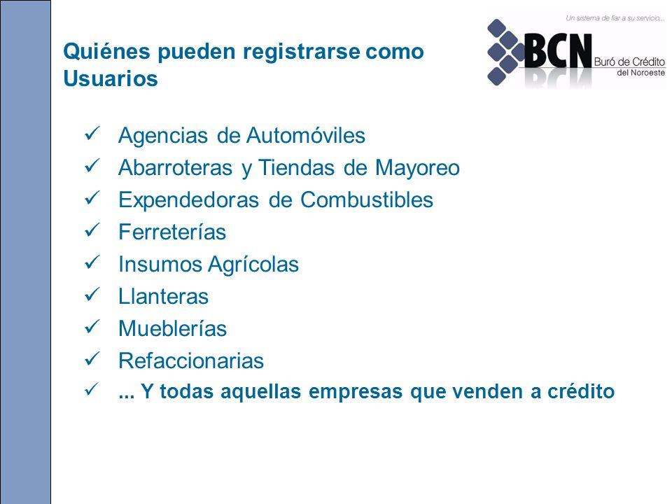 Quiénes pueden registrarse como Usuarios Agencias de Automóviles Abarroteras y Tiendas de Mayoreo Expendedoras de Combustibles Ferreterías Insumos Agr