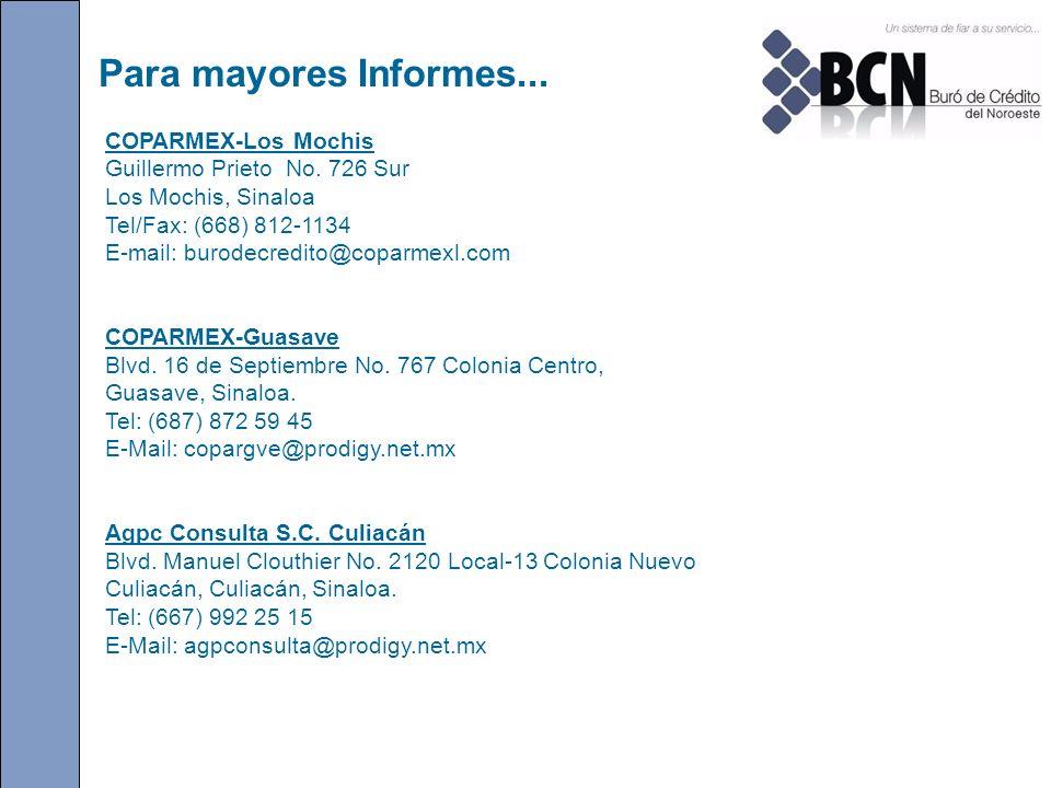 Para mayores Informes... COPARMEX-Los Mochis Guillermo Prieto No. 726 Sur Los Mochis, Sinaloa Tel/Fax: (668) 812-1134 E-mail: burodecredito@coparmexl.