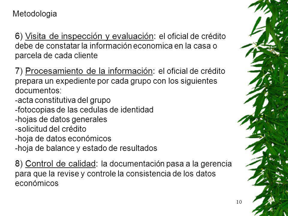 10 Metodologia 6) Visita de inspección y evaluación: el oficial de crédito debe de constatar la información economica en la casa o parcela de cada cli
