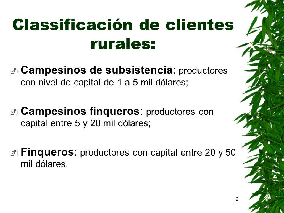 2 Classificación de clientes rurales: Campesinos de subsistencia: productores con nivel de capital de 1 a 5 mil dólares; Campesinos finqueros: product