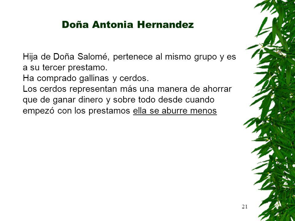 21 Doña Antonia Hernandez Hija de Doña Salomé, pertenece al mismo grupo y es a su tercer prestamo. Ha comprado gallinas y cerdos. Los cerdos represent