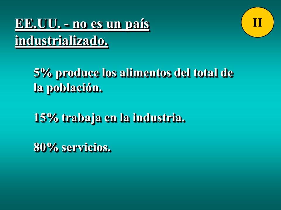 5% produce los alimentos del total de la población. 15% trabaja en la industria. 80% servicios. 5% produce los alimentos del total de la población. 15