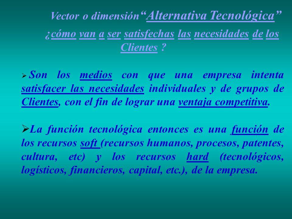Vector o dimensiónAlternativa Tecnológica ¿cómo van a ser satisfechas las necesidades de los Clientes ? Son los medios con que una empresa intenta sat