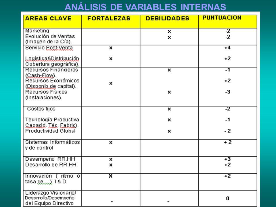 ANÁLISIS DE VARIABLES INTERNAS
