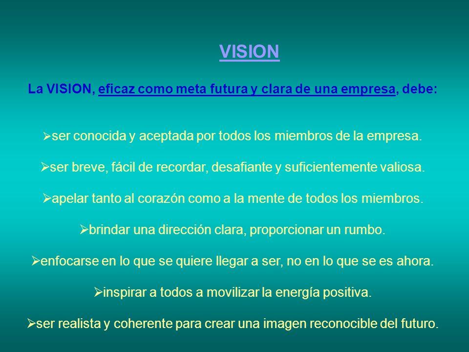 VISION La VISION, eficaz como meta futura y clara de una empresa, debe: ser conocida y aceptada por todos los miembros de la empresa. ser breve, fácil