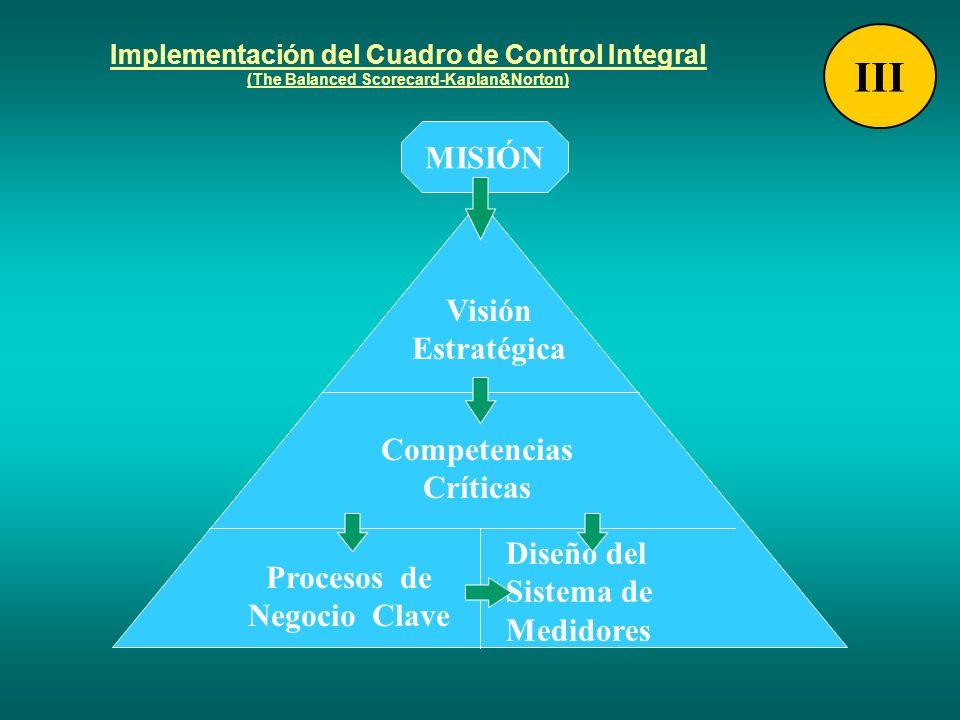 Implementación del Cuadro de Control Integral (The Balanced Scorecard-Kaplan&Norton) MISIÓN Visión Estratégica Competencias Críticas Procesos de Negoc