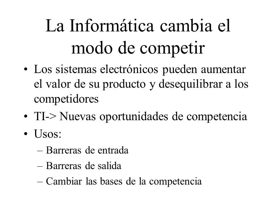 La Informática cambia el modo de competir Los sistemas electrónicos pueden aumentar el valor de su producto y desequilibrar a los competidores TI-> Nu