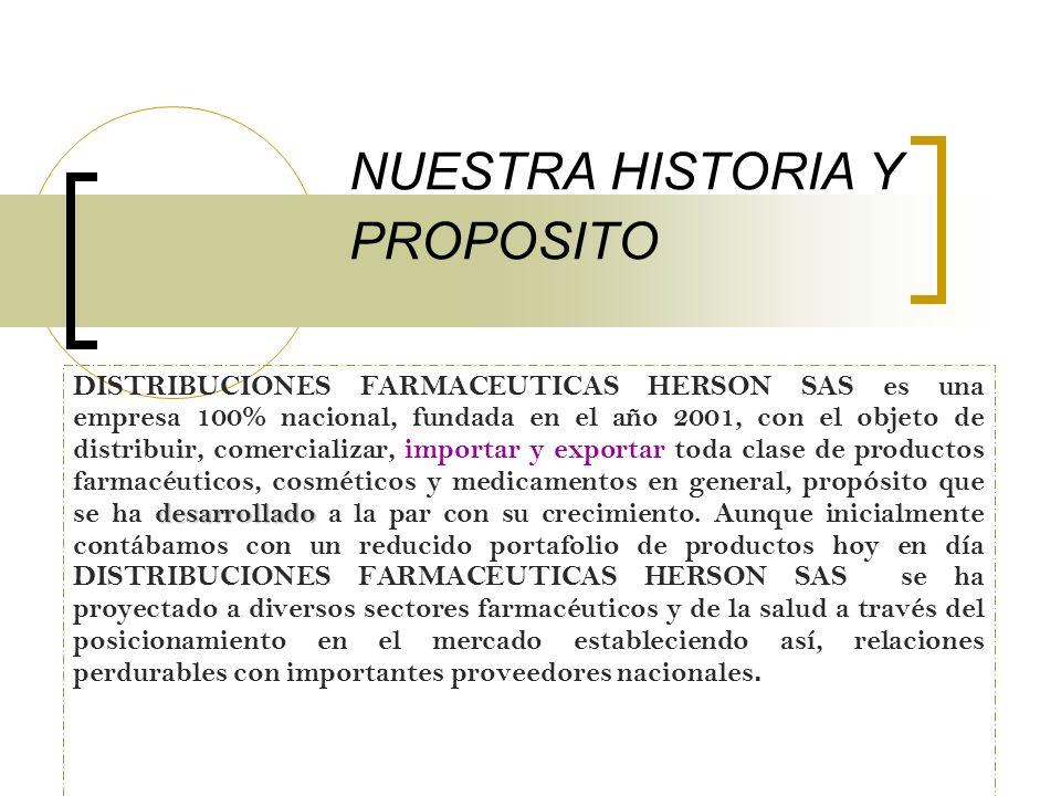 NUESTRA HISTORIA Y PROPOSITO desarrollado DISTRIBUCIONES FARMACEUTICAS HERSON SAS es una empresa 100% nacional, fundada en el año 2001, con el objeto