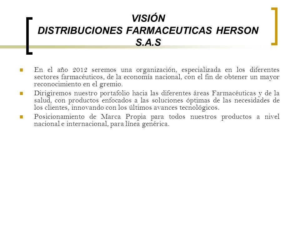 VISIÓN DISTRIBUCIONES FARMACEUTICAS HERSON S.A.S En el año 2012 seremos una organización, especializada en los diferentes sectores farmacéuticos, de l