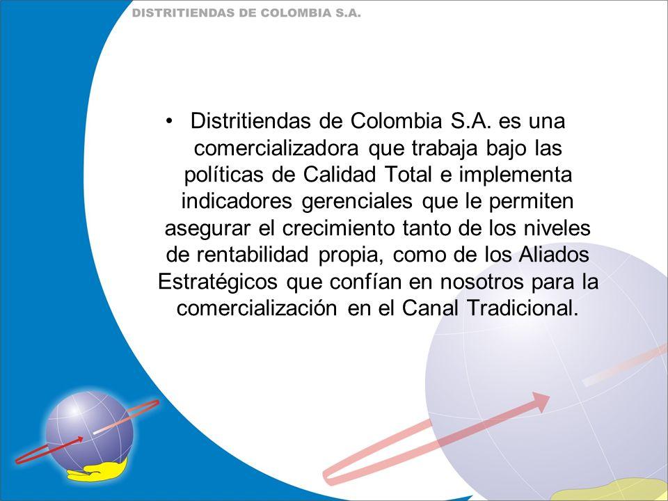 Distritiendas de Colombia S.A. es una comercializadora que trabaja bajo las políticas de Calidad Total e implementa indicadores gerenciales que le per