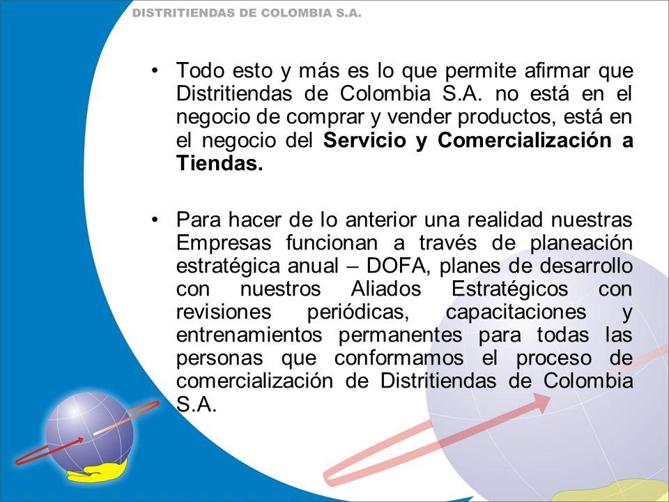 Todo esto y más es lo que permite afirmar que Distritiendas de Colombia S.A. no está en el negocio de comprar y vender productos, está en el negocio d