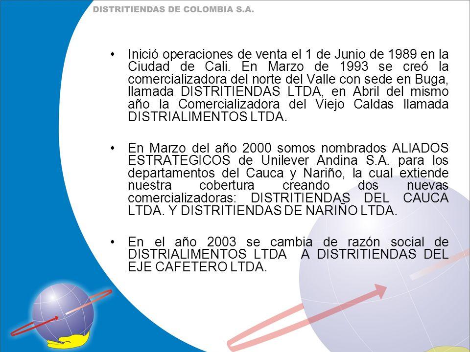 Inició operaciones de venta el 1 de Junio de 1989 en la Ciudad de Cali. En Marzo de 1993 se creó la comercializadora del norte del Valle con sede en B