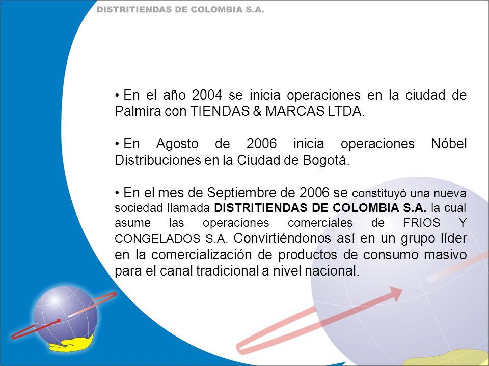 En el año 2004 se inicia operaciones en la ciudad de Palmira con TIENDAS & MARCAS LTDA. En Agosto de 2006 inicia operaciones Nóbel Distribuciones en l