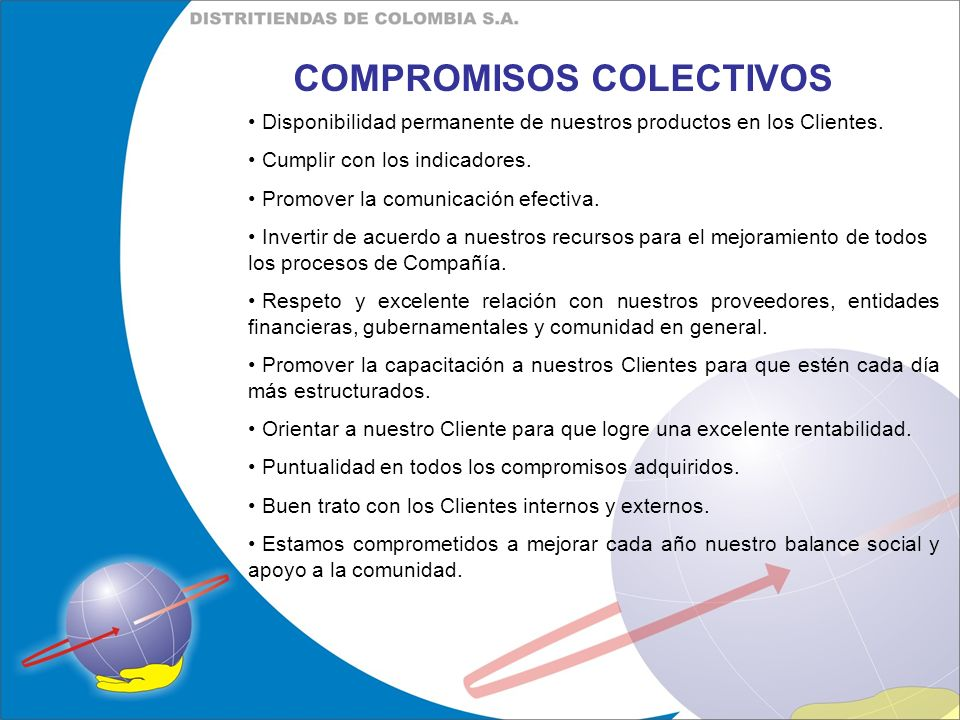 COMPROMISOS COLECTIVOS Disponibilidad permanente de nuestros productos en los Clientes. Cumplir con los indicadores. Promover la comunicación efectiva