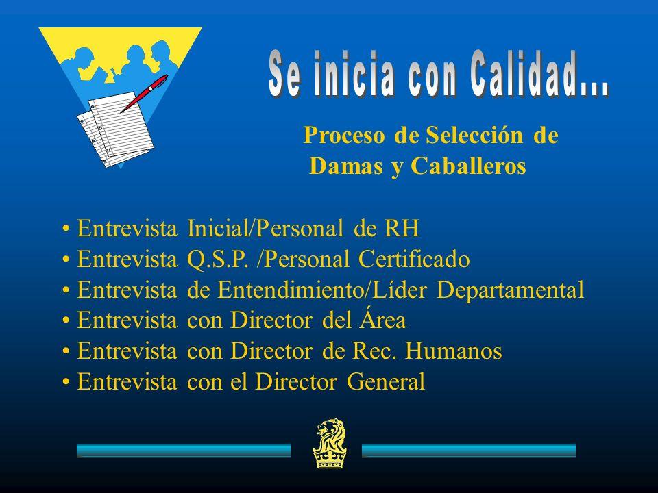 Entrevista Inicial/Personal de RH Entrevista Q.S.P. /Personal Certificado Entrevista de Entendimiento/Líder Departamental Entrevista con Director del