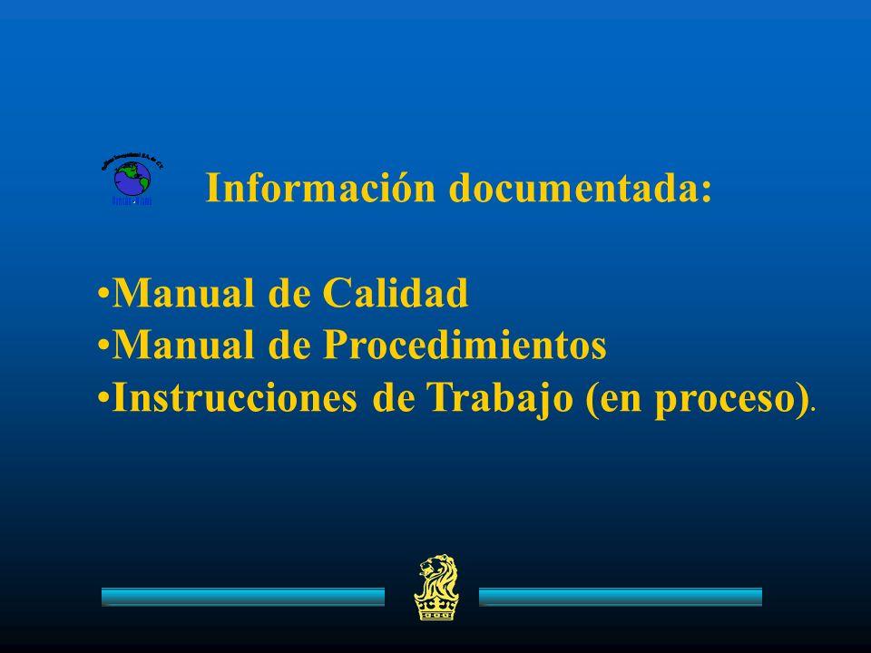 Información documentada: Manual de Calidad Manual de Procedimientos Instrucciones de Trabajo (en proceso).