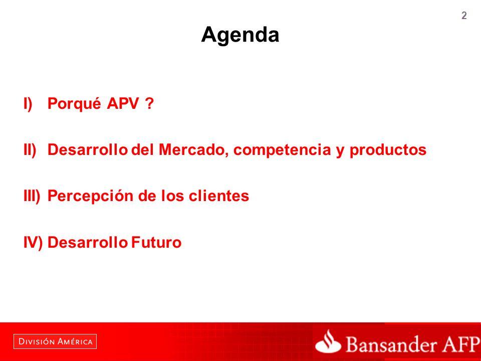 2 Agenda I) Porqué APV ? II) Desarrollo del Mercado, competencia y productos III) Percepción de los clientes IV)Desarrollo Futuro