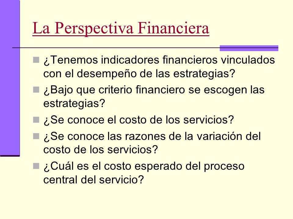 La Perspectiva Financiera ¿Tenemos indicadores financieros vinculados con el desempeño de las estrategias? ¿Bajo que criterio financiero se escogen la
