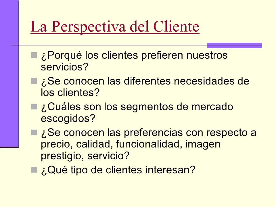La Perspectiva del Cliente ¿Porqué los clientes prefieren nuestros servicios? ¿Se conocen las diferentes necesidades de los clientes? ¿Cuáles son los