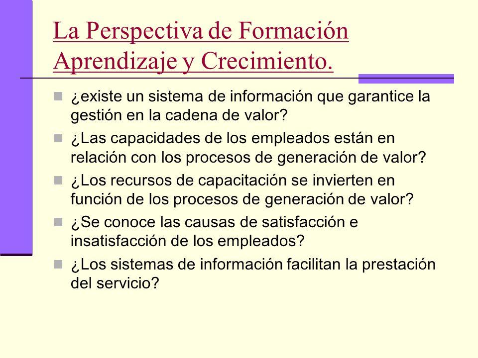 La Perspectiva de Formación Aprendizaje y Crecimiento. ¿existe un sistema de información que garantice la gestión en la cadena de valor? ¿Las capacida