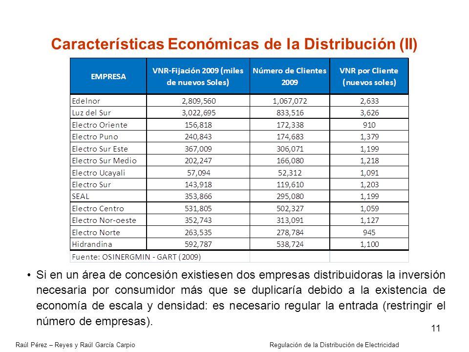 Raúl Pérez – Reyes y Raúl García Carpio Regulación de la Distribución de Electricidad 11 Características Económicas de la Distribución (II) Si en un á