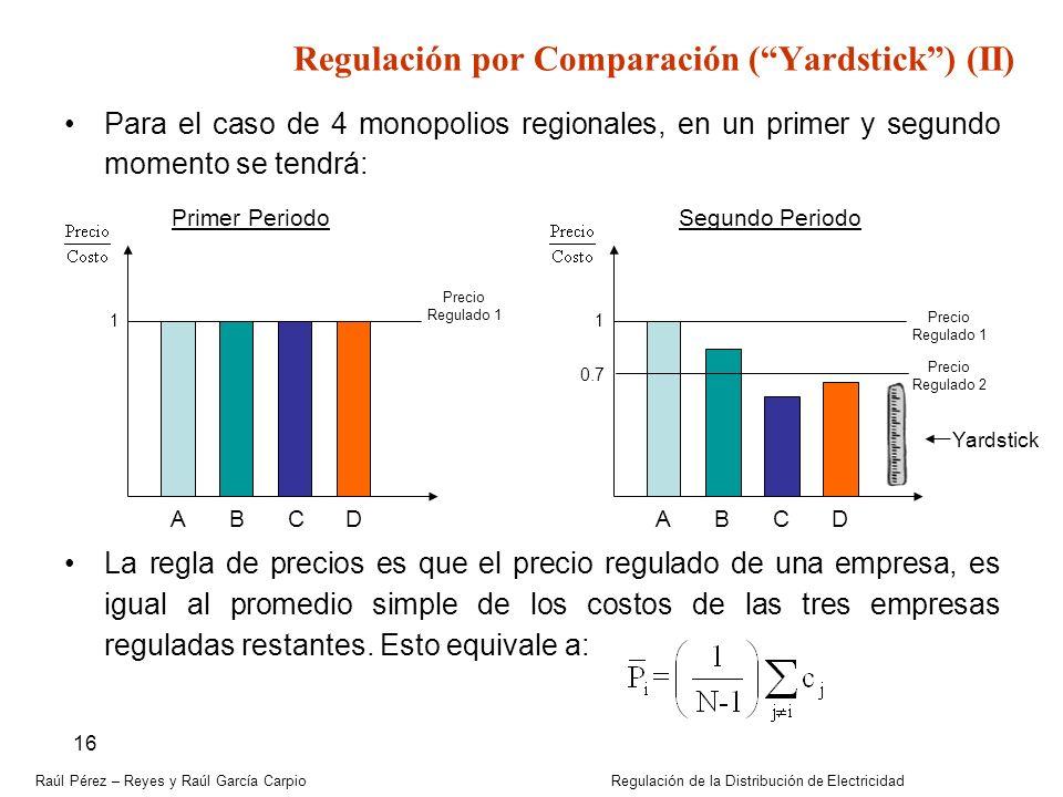 Raúl Pérez – Reyes y Raúl García Carpio Regulación de la Distribución de Electricidad 16 Para el caso de 4 monopolios regionales, en un primer y segun