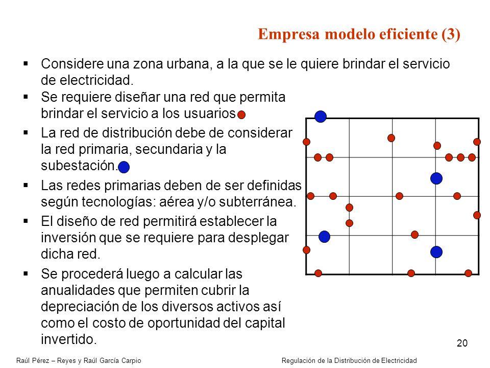 Raúl Pérez – Reyes y Raúl García Carpio Regulación de la Distribución de Electricidad 20 Empresa modelo eficiente (3) Considere una zona urbana, a la
