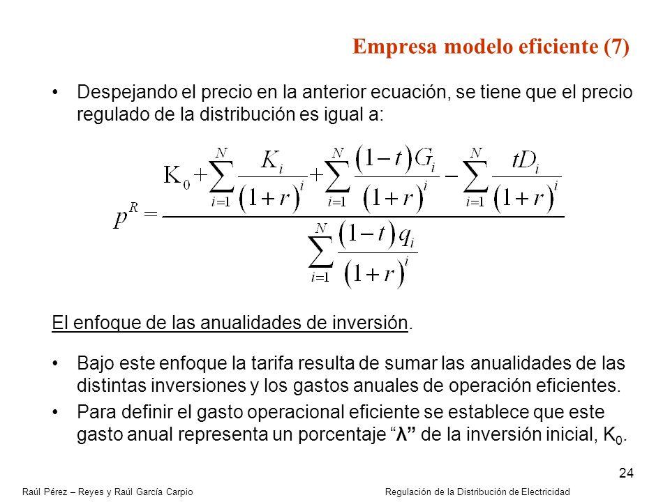 Raúl Pérez – Reyes y Raúl García Carpio Regulación de la Distribución de Electricidad 24 Despejando el precio en la anterior ecuación, se tiene que el