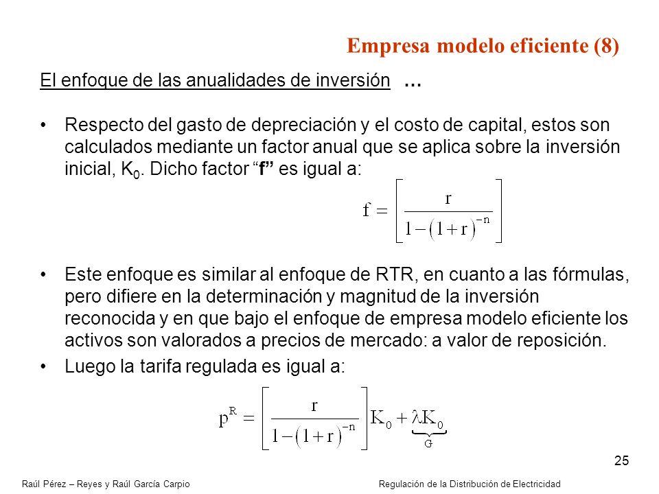 Raúl Pérez – Reyes y Raúl García Carpio Regulación de la Distribución de Electricidad 25 El enfoque de las anualidades de inversión … Respecto del gas